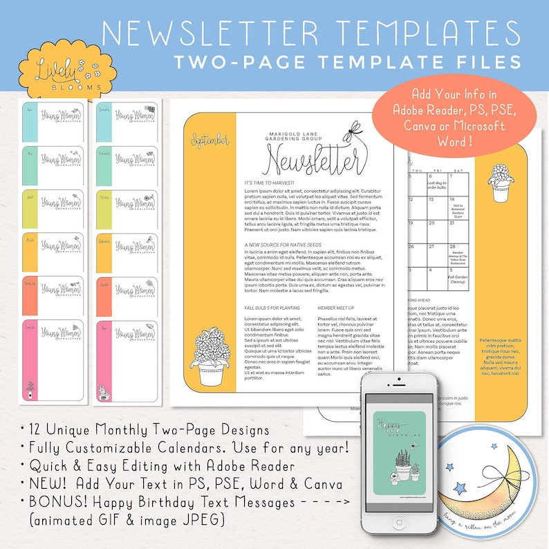 12 Months Newsletter Templates Two Pages Edit in Adobe image 0