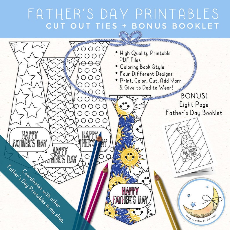 Father's Day Printable Paper Ties Dad Booklet image 0