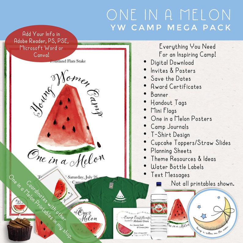 LDS Young Women Girls Camp Mega Printable Pack: One in a Melon image 0
