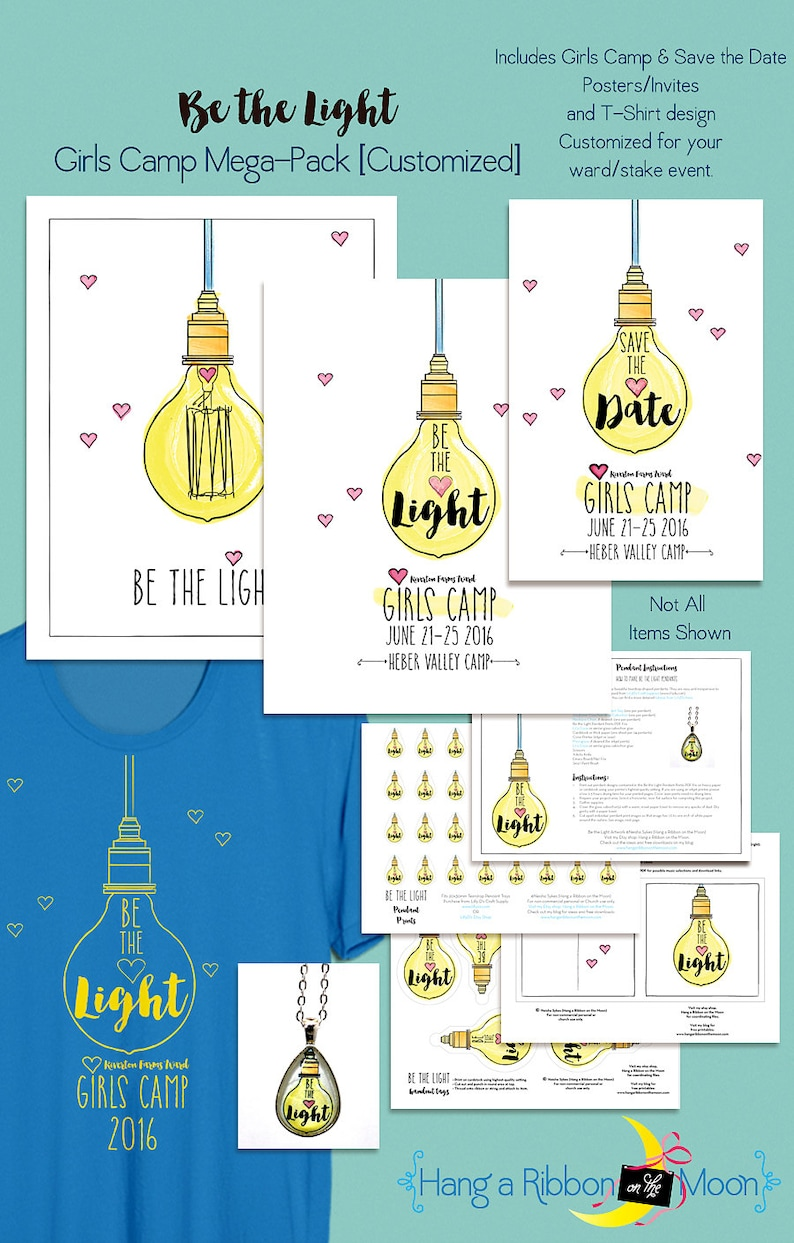 Be the Light: LDS Girls Camp Mega Pack [CUSTOMIZED] Digital Download, LDS  Young Women, T-Shirt, Posters, Invites, Digital Download