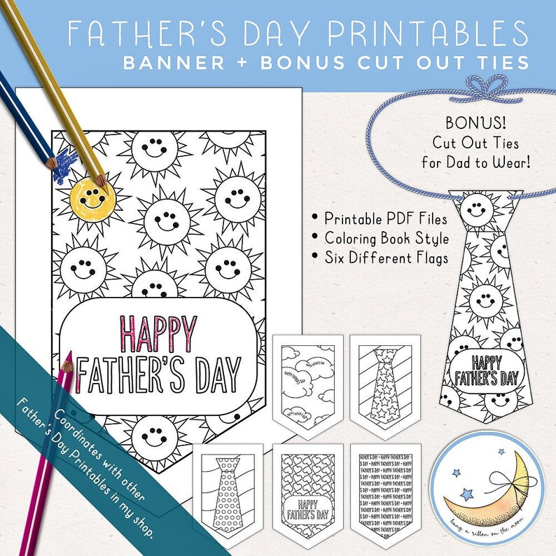 Father's Day Banner Printable & Paper Ties Father's image 0