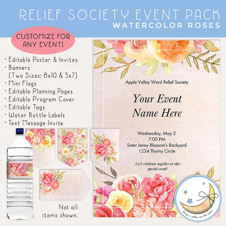 Relief Society Event Pack: Invitations Posters Decor and image 0