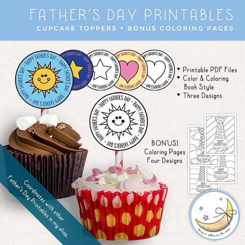 Father's Day Cupcake Toppers Coloring Pages Father's image 0