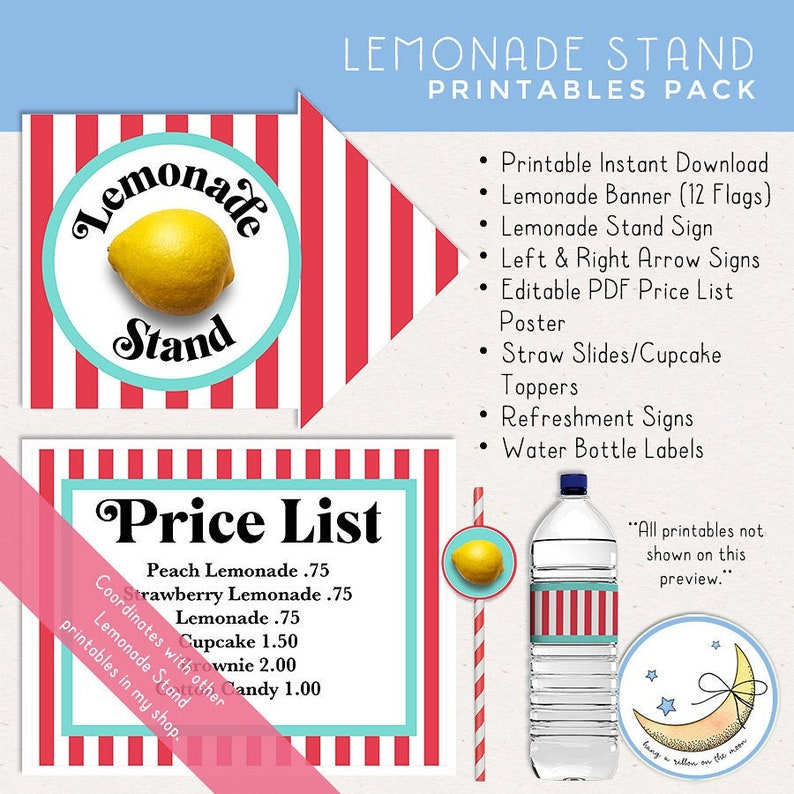 Lemonade Stand Printable Pack: Banner Signs Straw image 0