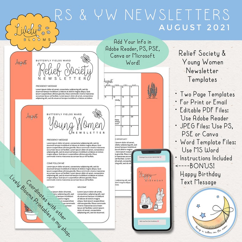 August 2021 Newsletter Template for LDS Relief Society and image 0