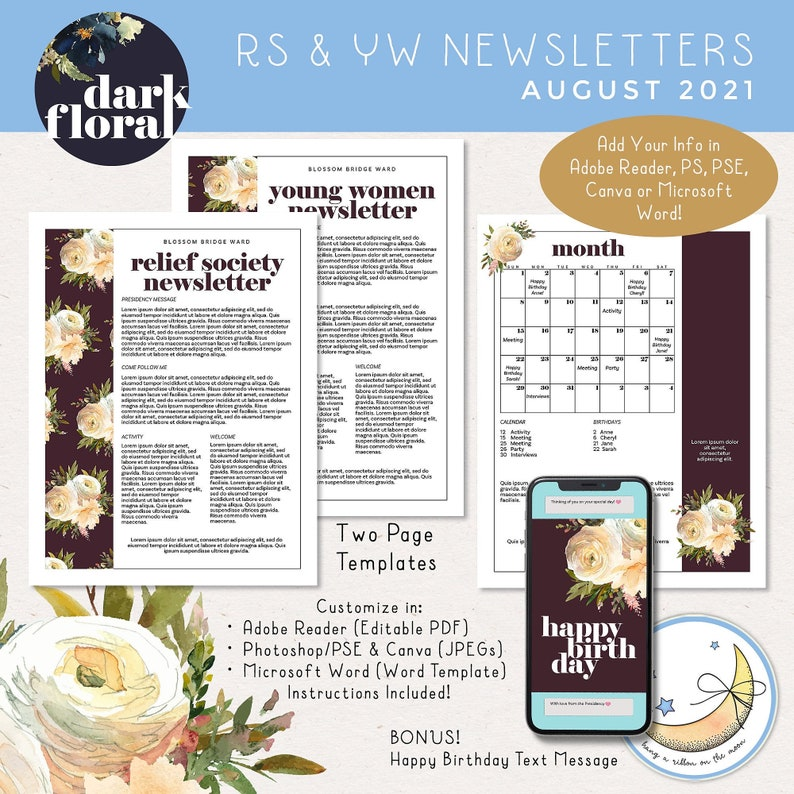 August 2021 LDS Young Women & Relief Society Newsletter image 0