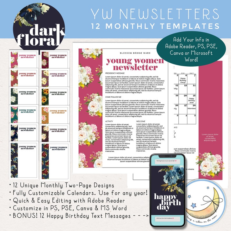 LDS Young Women Newsletter Templates 12 Months: Edit in Adobe image 0