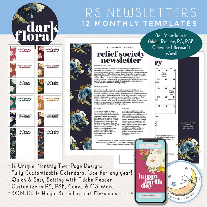 12 Months LDS Relief Society Newsletter Templates: Edit in image 0