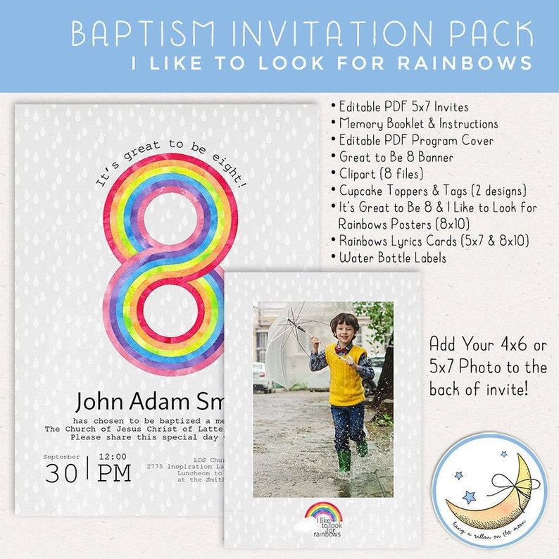 Baptism Invitation Pack: I Like to Look for Rainbows & image 0