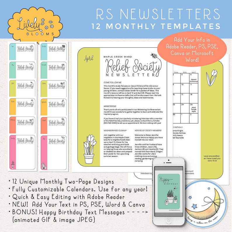 12 Months Relief Society Newsletters Templates: Edit in Adobe image 0