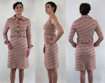 1960's Anne Fogarty Boutique Romantic Valentine's Day Knit Heart Novelty Print Dress Set with Matching Jacket | Size Medium