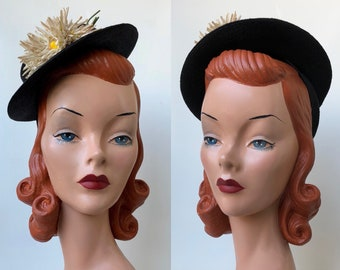 1930's Navy Blue Straw Tilt Hat with Vintage White Daisy Millinery Flower Details