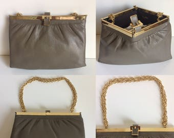 Deadstock 1960's Lisette Ltd. Grey Leather Clutch with Gold Tone Hardware and Optional Chain