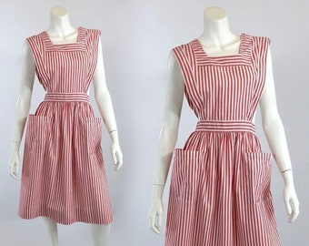 1950's Parker Uniforms Cotton Red & White Candy Striper Volunteer Auxiliary Costume Pinafore Dress | Size Small