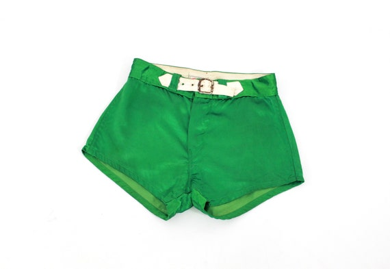 1940s Satin Shorts - 1940s Green Satin Shorts - 19