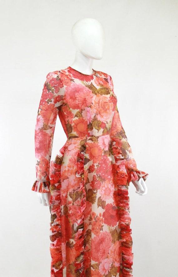 1970s Rose Print Ruffle Maxi Dress - 1970s Rose P… - image 6
