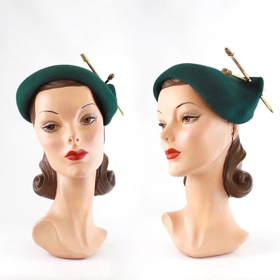 RESERVED | 1940s Hunter Green Tilt Hat - 1940s Gre