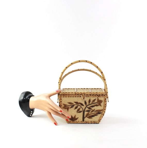 1950s Bamboo Box Purse - 1950s Tiki Purse - 1950s