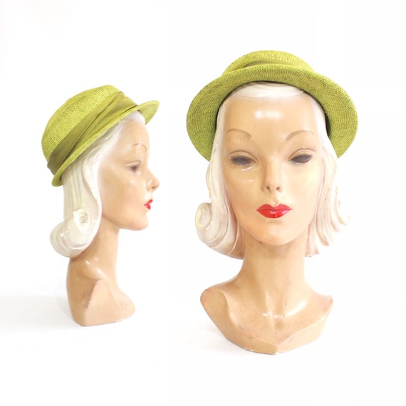 1950s Chartruese Green Straw Shell Cap Boater Hat