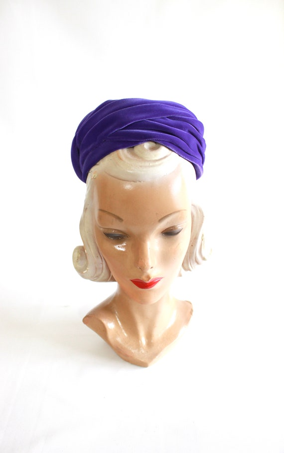 1960s Purple Pillbox - 1960s Purple Hat - Vintage… - image 2