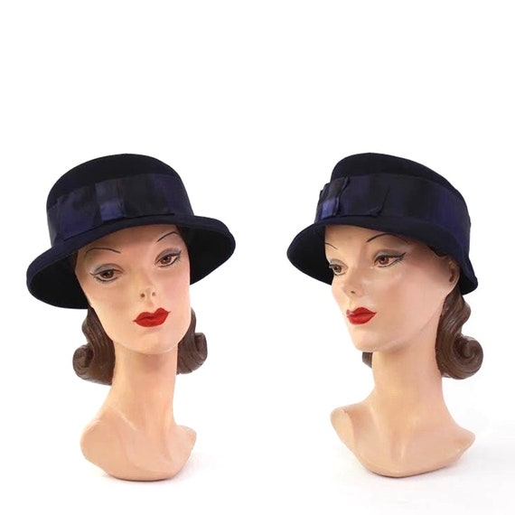 1930s Navy Blue Cloche Hat - 1930s Womens Hat - 19