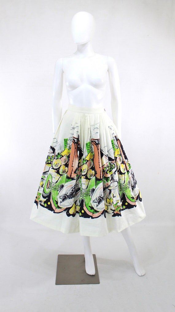 1950s Feast Novelty Print Skirt - 1950s Italian F… - image 5