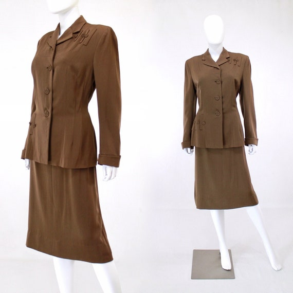 RESERVED | 1940s Womens Brown Suit - 1940s Brown … - image 1