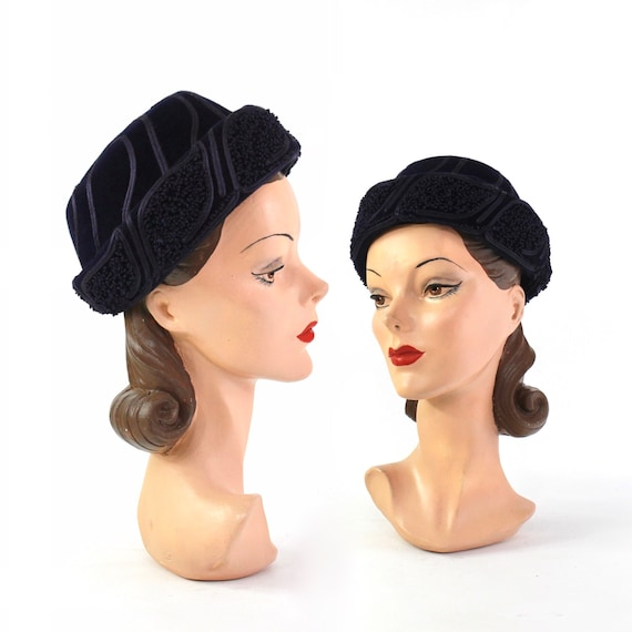1950s Navy Blue Winter Toque Hat - 1950s Navy Blue