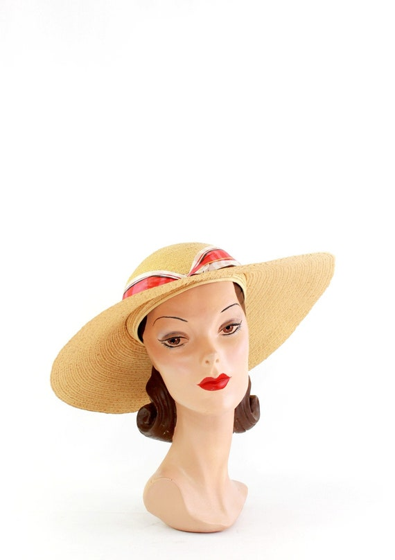 1940s Natural Straw - 1940s Cartwheel Sun Hat - 1… - image 2