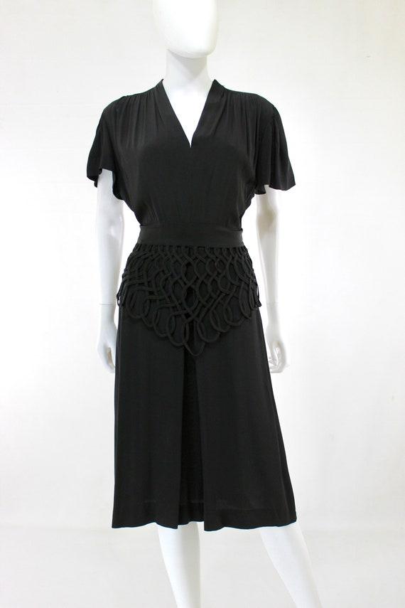 1940s Black Lattice Peplum Cocktail Dress - 1940s… - image 2