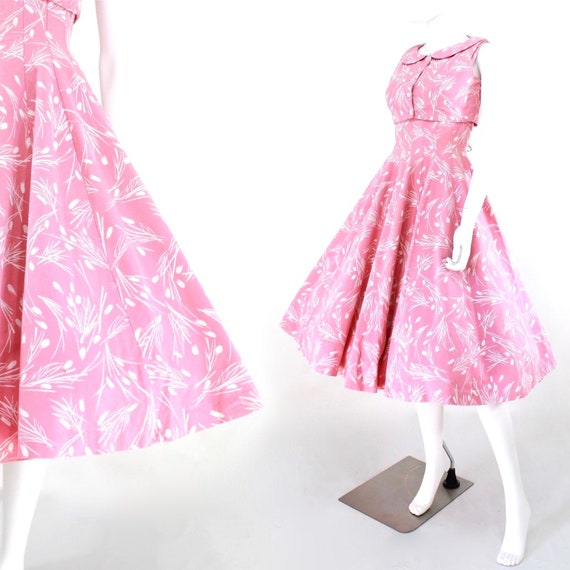 1950s Pink Fit & Flare Sun Dress with Matching Bol