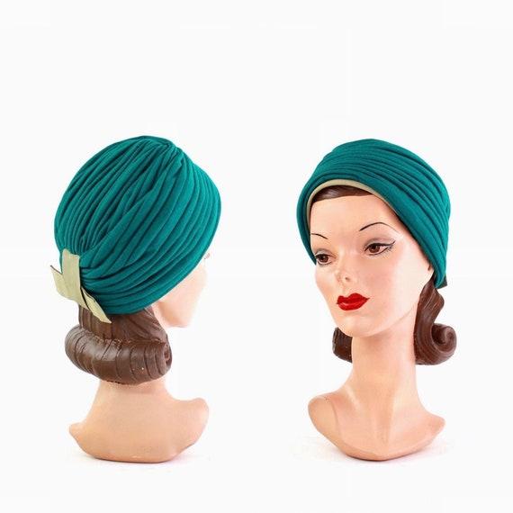 1930s Teal Turban Hat - 1930s Womens Turban - 1930