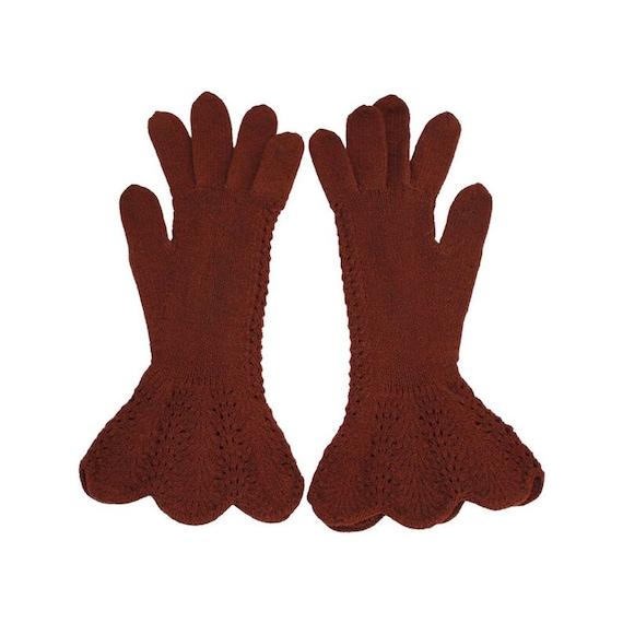 1930s Brown Crocheted Gauntlet Gloves - 1930s Cro… - image 3