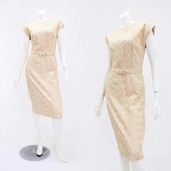 1950s Wiggle Dress - 50s Embroidered Dress - 1950s