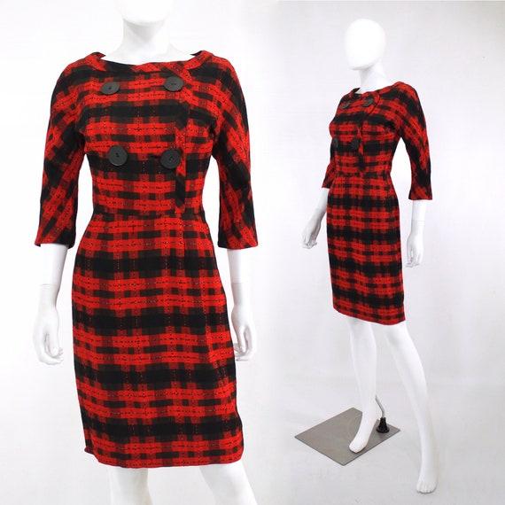1950s Red & Black Plaid Wiggle Dress - 1950s Wiggl