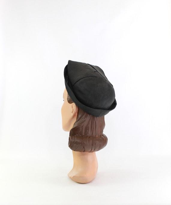 1930s Black Straw Shell Cap - 1930s Halo Hat - 19… - image 5