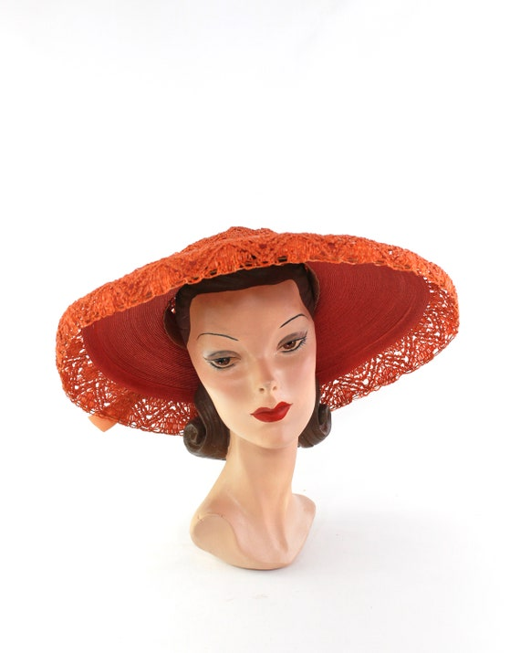 RESERVED | 1940s Red Platter Sun Hat - 1940s Oran… - image 9