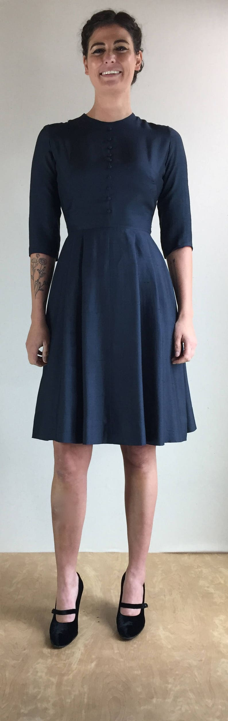 b01317e839a99 1950 s Betty Barclay Navy Blue Silk Shatung Fit   Flare