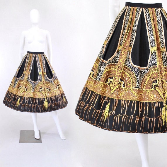 1950s Fan & Tassel Novelty Tromp l'oeil Skirt - 19