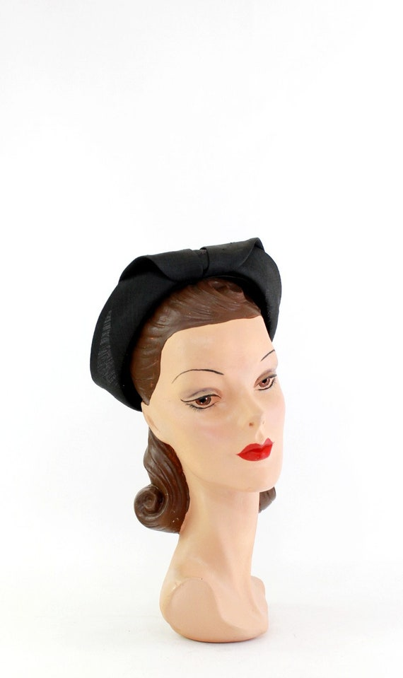 1930s Black Straw Shell Cap - 1930s Halo Hat - 19… - image 6