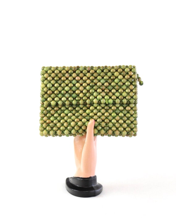 1950s Wood Bead Purse - 50s Green Bead Purse - 195