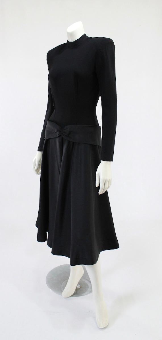 1940s LBD - 1940s Cocktail Dress - 1940s Black Dr… - image 4