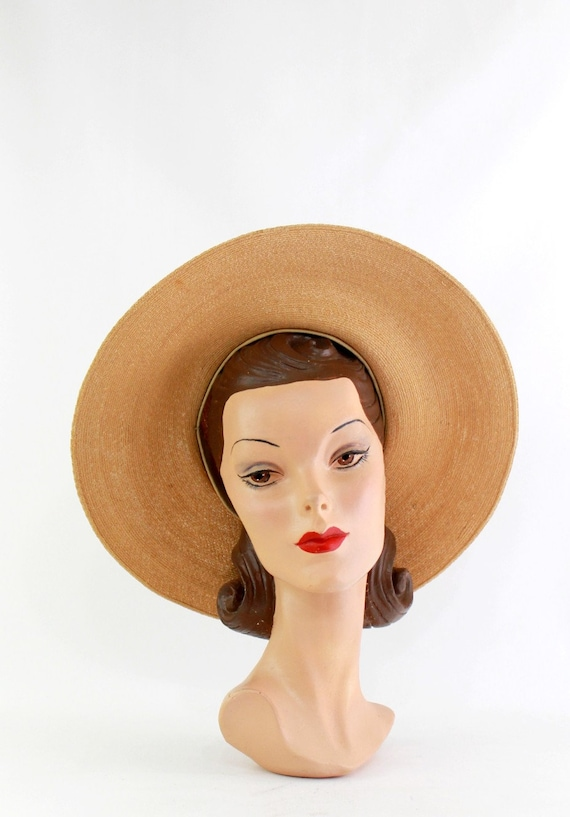 1940s Natural Straw Platter Sun Hat - 1940s Straw… - image 2