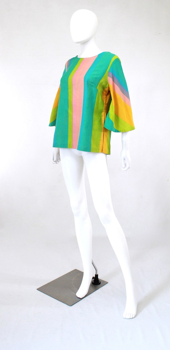 1960s Rainbow Tunic Blouse - 1960s Angel Sleeves … - image 4