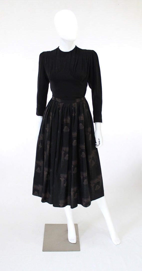 1950s Greco Roman Novelty Print Skirt - 1950s Gre… - image 3