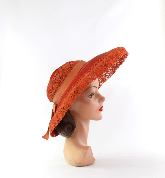 RESERVED | 1940s Red Platter Sun Hat - 1940s Oran… - image 3