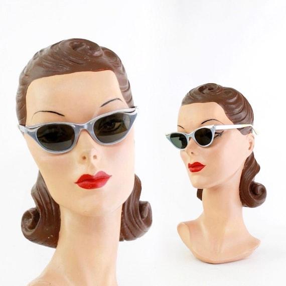 1950s Ice Blue Sunglasses - 1950s Sunnies - 1950s