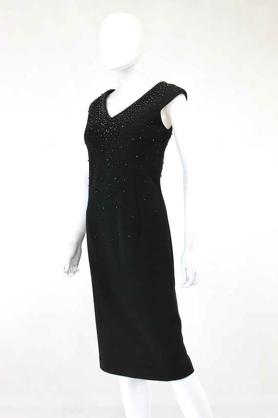 1950s Black Wiggle Dress - 1950s Studded Dress - … - image 4