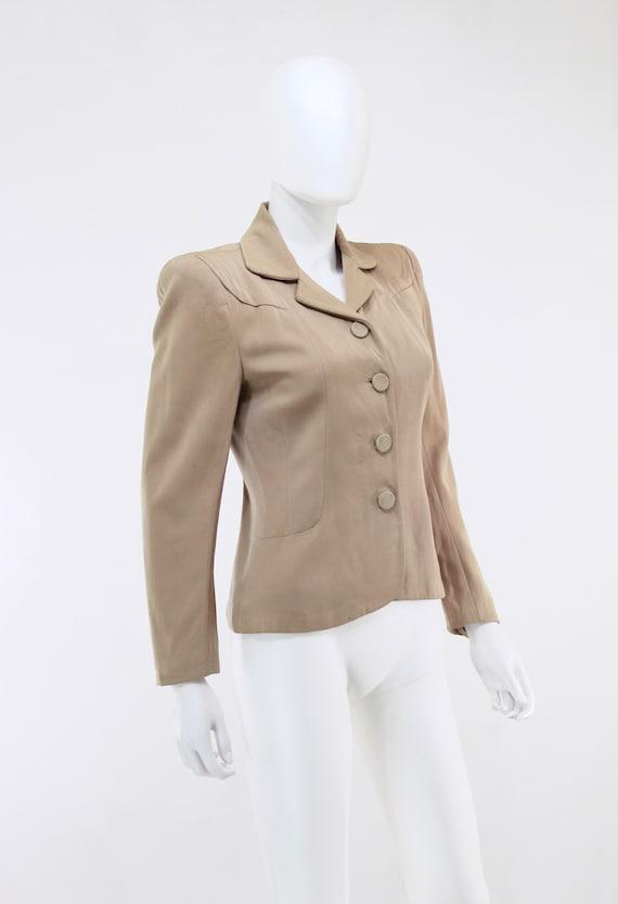 1940s Taupe Gabardine Jacket - 1940s Gabardine Ja… - image 5