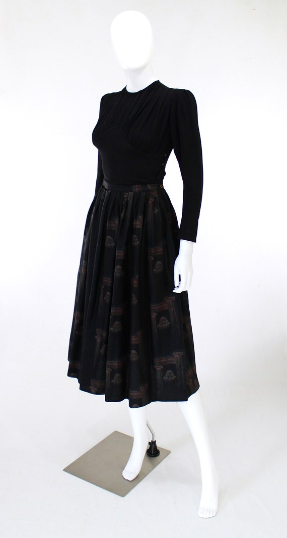 1950s Greco Roman Novelty Print Skirt - 1950s Gre… - image 5